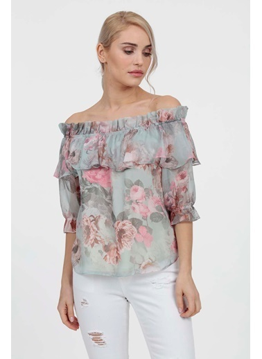 Vitrin Çiçek Desen Yaka Fırfır Detaylı Bluz Yeşil